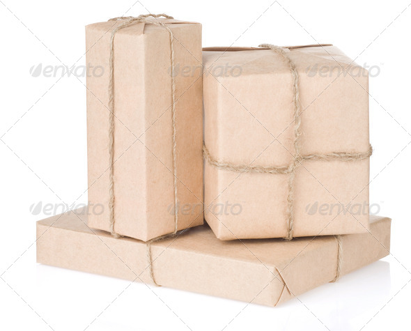 parcel wrapped tied with rope on white - Stock Photo - Images