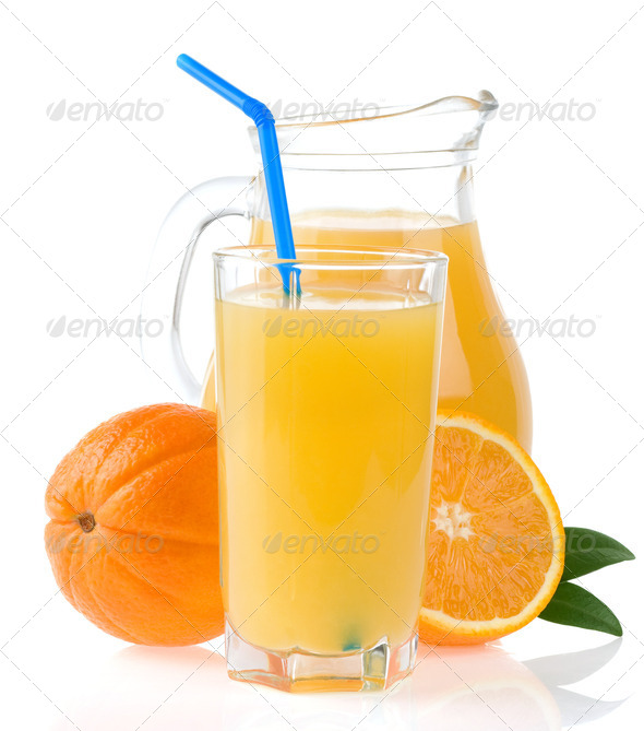 orange juice in glass and slices isolated on white - Stock Photo - Images