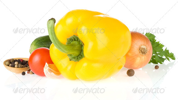 bell pepper and vegetable isolated on white - Stock Photo - Images