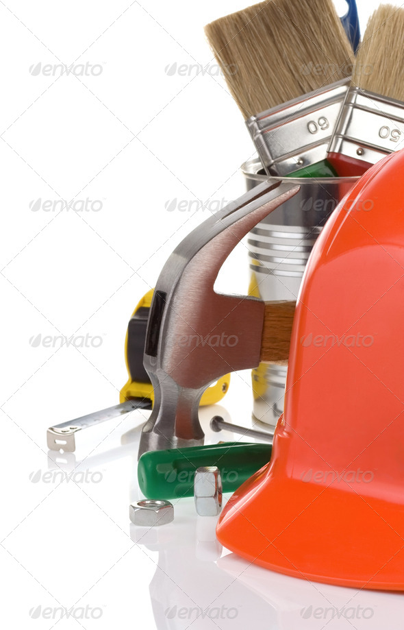 set of tools and helmet isolated on white - Stock Photo - Images