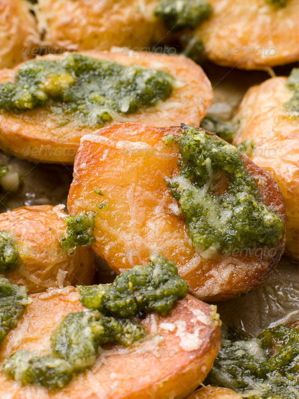 Baby Potatoes roasted with Pesto - Stock Photo - Images