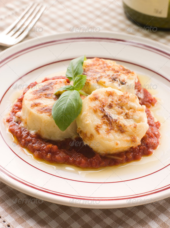 Gnocchi Romana with Tomato Sauce - Stock Photo - Images