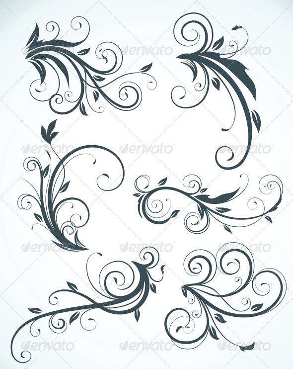 Floral elements  - Flourishes / Swirls Decorative