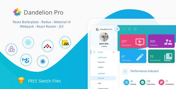 Fabulous Dandelion Pro - React Admin Dashboard Template