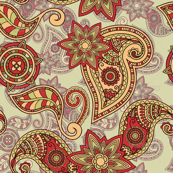 Vector Seamless Paisley Pattern - Patterns Decorative
