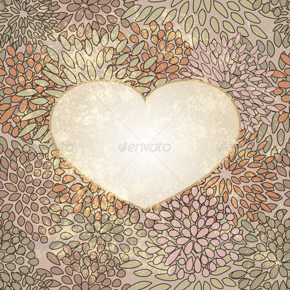 Vector Heart on Grungy Floral Texture - Decorative Symbols Decorative