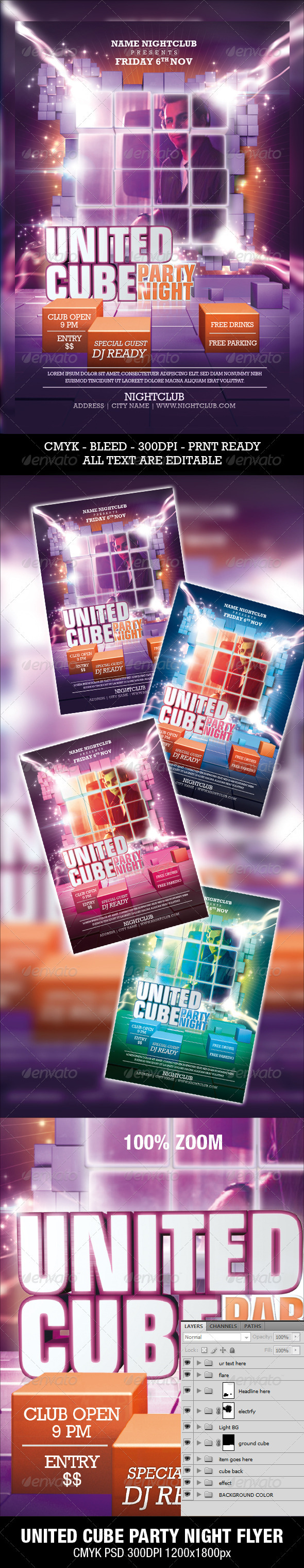 United Cube Party Night Flyer - Clubs & Parties Events