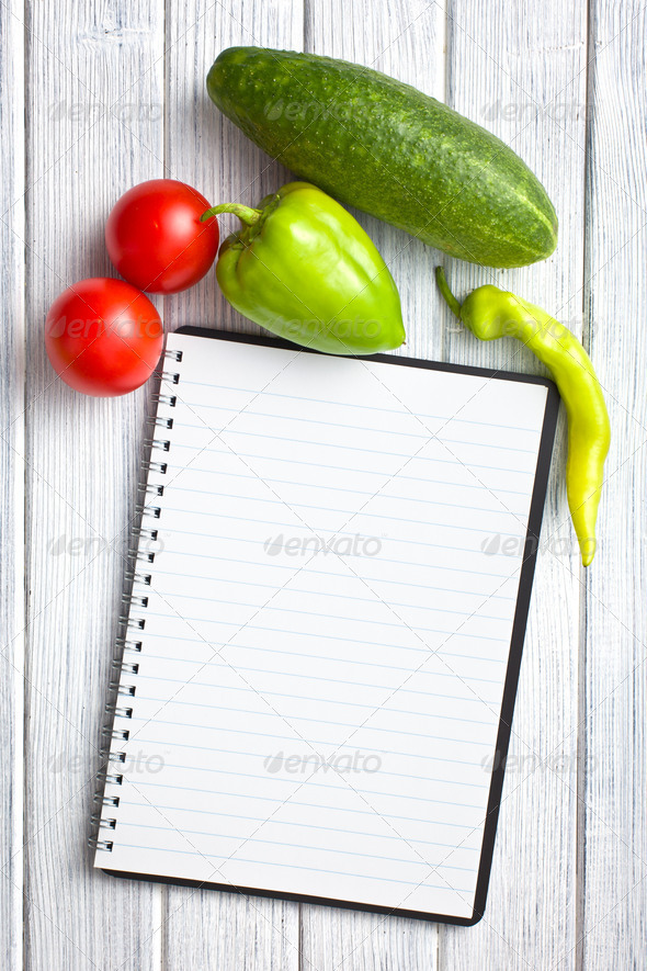 blank recipe book with vegetable - Stock Photo - Images
