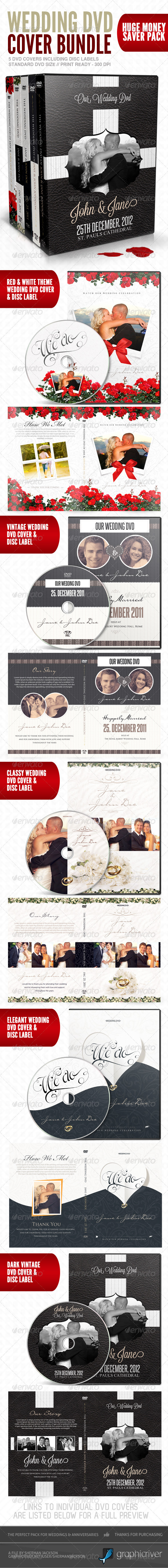 Wedding DVD Cover & Disc Label Premium Bundle - CD & DVD Artwork Print Templates
