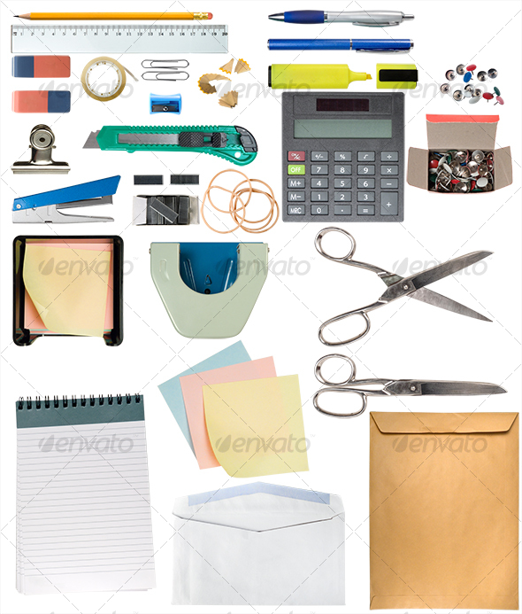 Desk Items Pack - Home & Office Isolated Objects