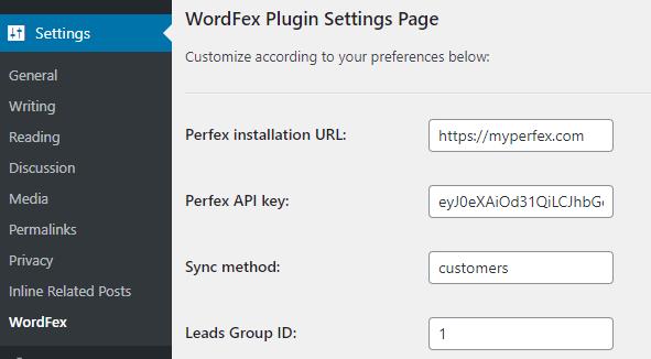 WordFex - Syncronize WordPress with Perfex - 1