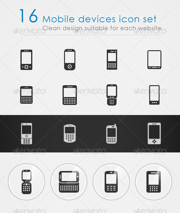16 Mobile devices icon set - Web Icons