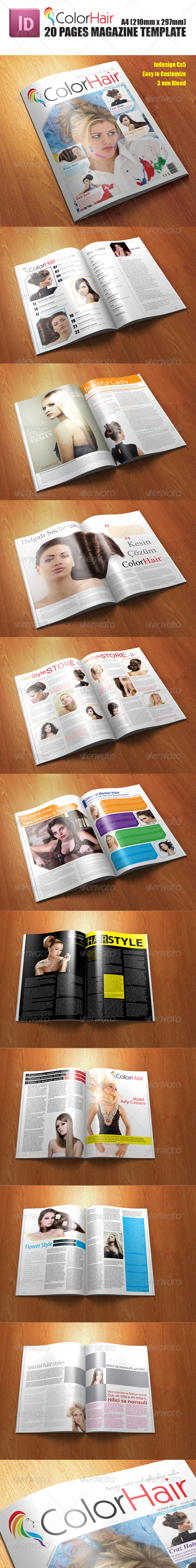 Color Hair Magazine Tepmlate - Magazines Print Templates