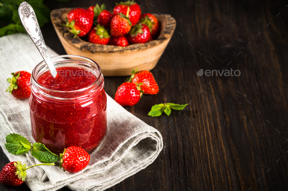 Strawberry jam in the glass jar - Stock Photo - Images