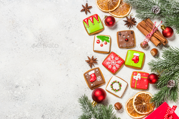 Christmas gingerbread cookies with holidays decorations - Stock Photo - Images