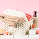 Bathroom background with towels, soapand cosmetics bottle at the table - PhotoDune Item for Sale