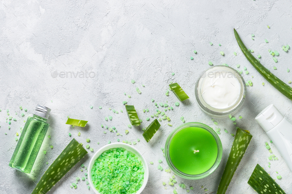 Aloe vera cosmetic at stone table top view - Stock Photo - Images