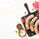 Bratwurst or sausages on cutting board at white wooden table table - PhotoDune Item for Sale