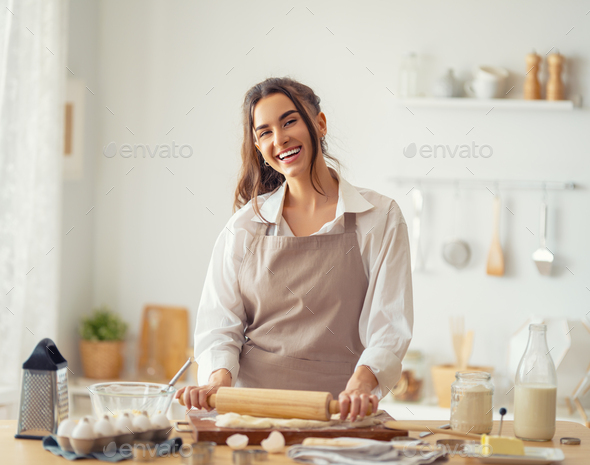 woman is preparing bakery. - Stock Photo - Images