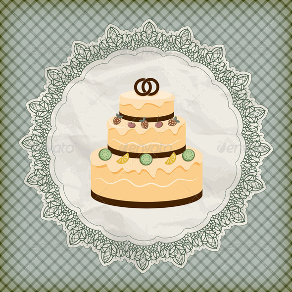 Wedding Cake on Lacy Napkin - Food Objects