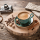 Cup of hot coffee on wooden table. Retro style - PhotoDune Item for Sale