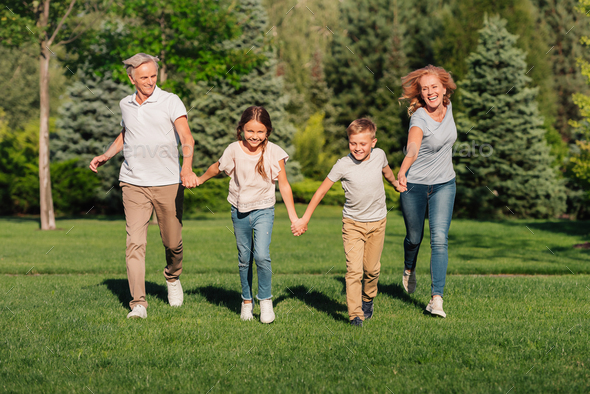 happy grandchildren and grandparents holding hands while running on meadow - Stock Photo - Images