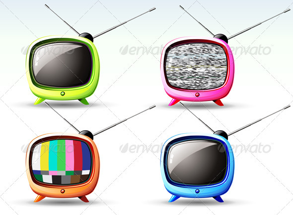 Retro television - Objects Vectors