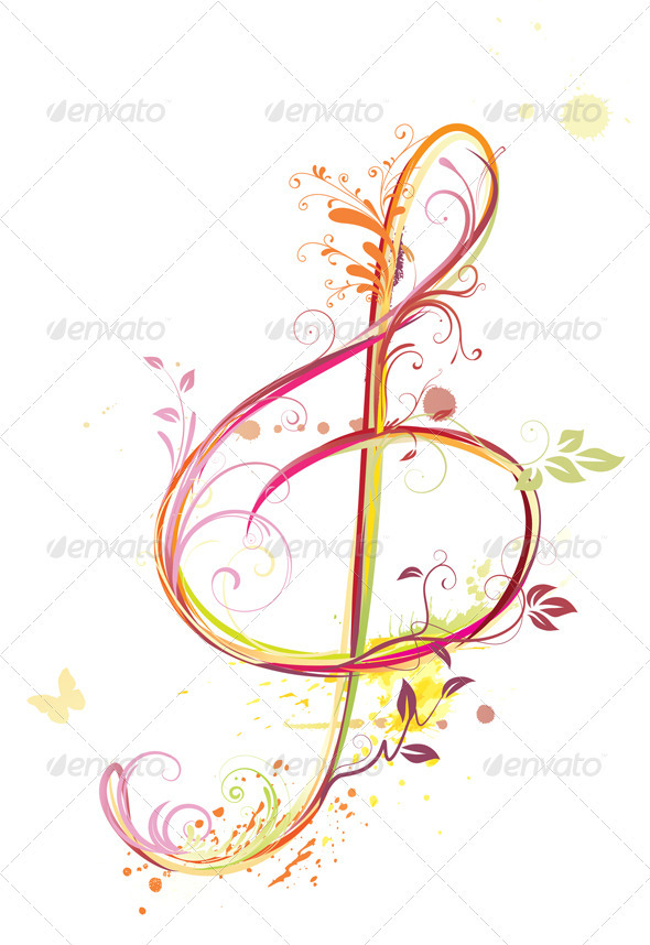 Treble clef - Flourishes / Swirls Decorative