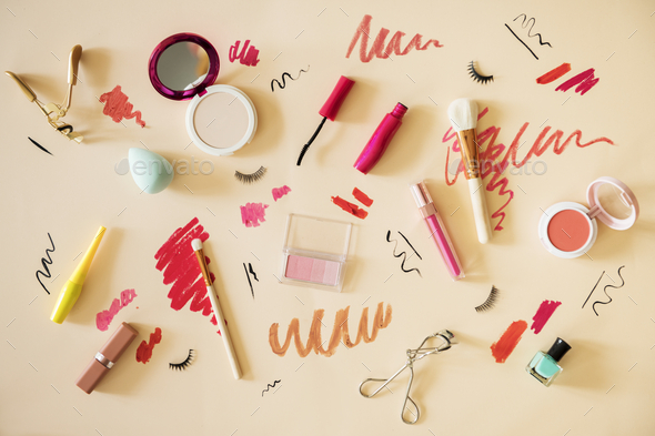 Flat lay of woman makeup swatches - Stock Photo - Images