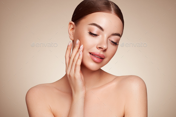 Portrait beautiful young woman with clean fresh skin - Stock Photo - Images