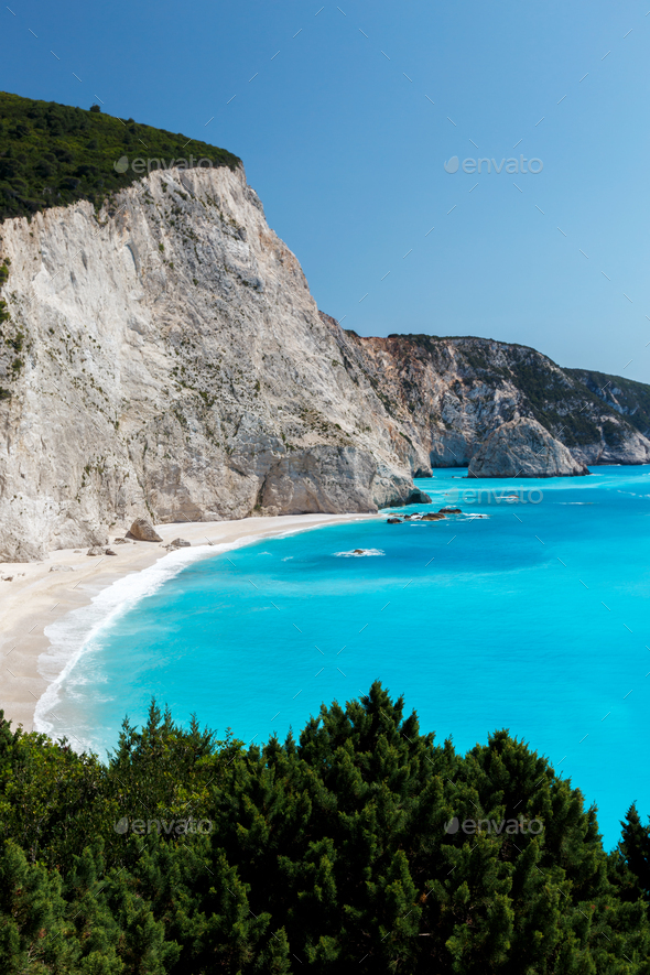 Famous beach in Lefkada Greece - Stock Photo - Images