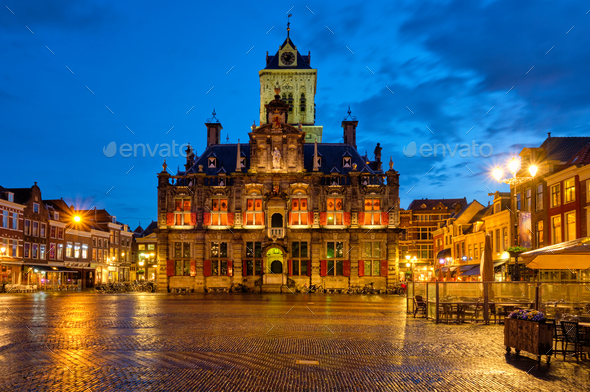 Delft Market Square Markt in the evening. Delfth, Netherlands - Stock Photo - Images