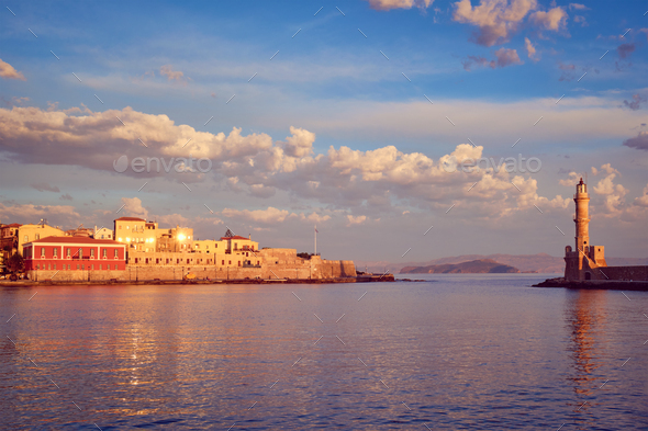 Picturesque old port of Chania, Crete island. Greece - Stock Photo - Images