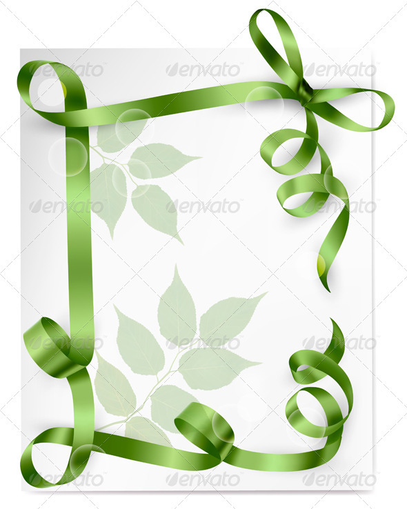 Background with green gift bows with green ribbons - Flowers & Plants Nature