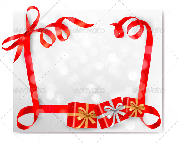 Christmas background with red gift ribbons - Christmas Seasons/Holidays