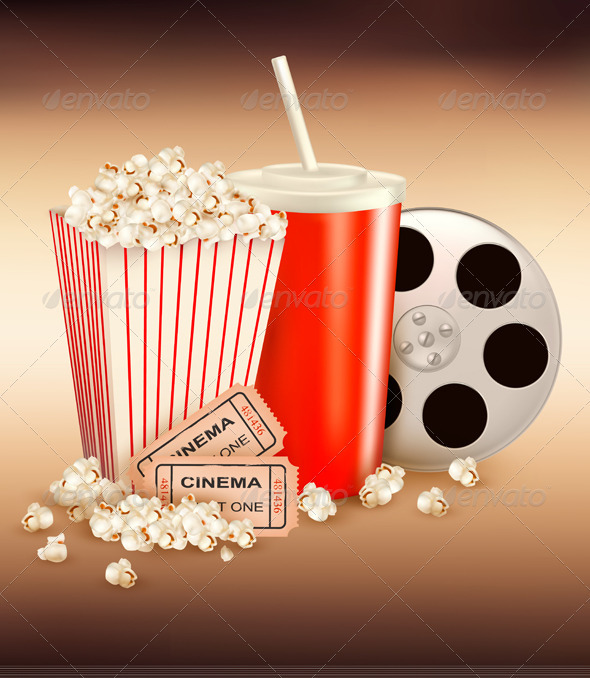 Popcorn and a drink and two tickets  Vector  - Retro Technology