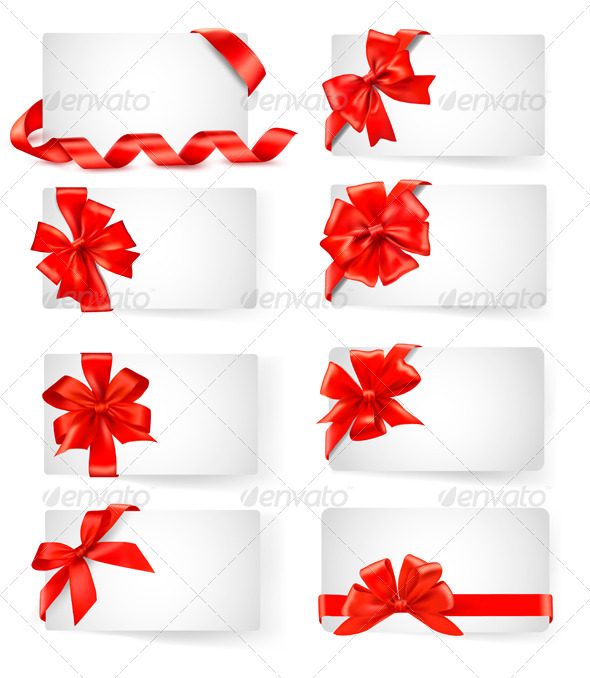 Set of card notes with red gift bows with ribbons  - Christmas Seasons/Holidays