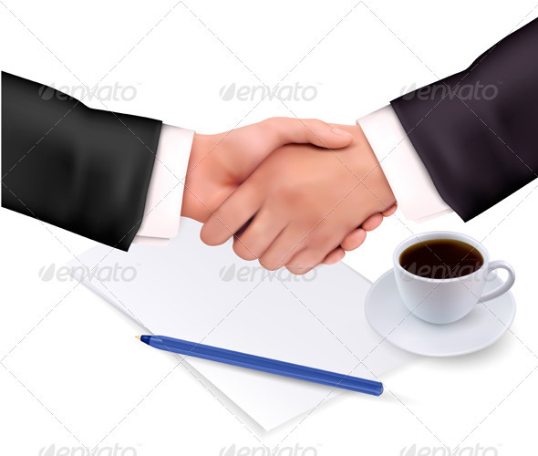 Handshake over paper and pen - Concepts Business