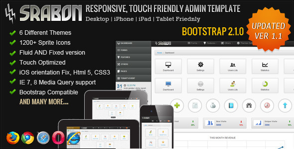 Srabon – Responsive, Touch Friendly Admin Template