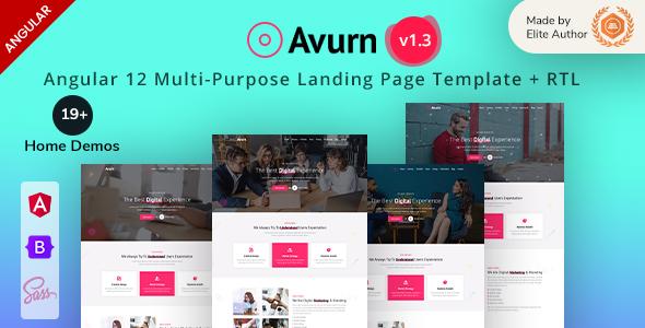 Avurn - Angular 12 Multipurpose Landing Page Template
