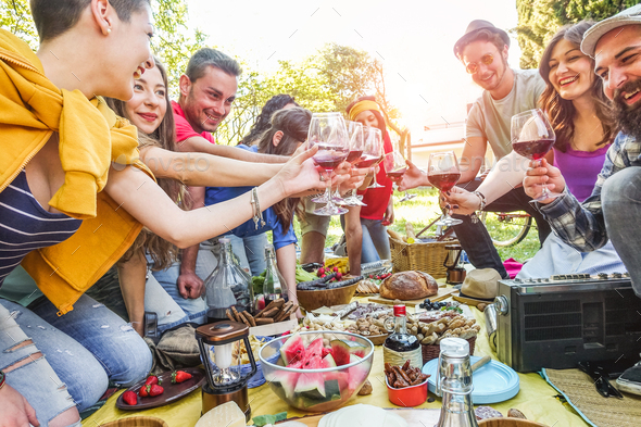Happy friends cheering with red wine at picnic party outdoor - Stock Photo - Images