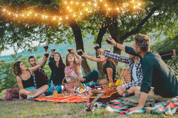Happy friends having fun at picnic dinner with vintage lights outdoor next vineyard - Stock Photo - Images