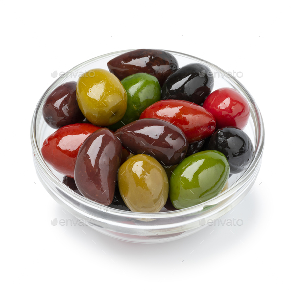 Glass bowl with a variation of different olives on white background - Stock Photo - Images