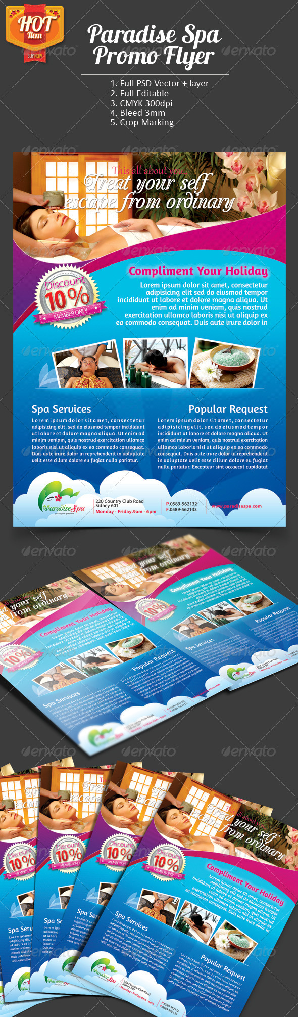 Paradise Spa Promo Flyer - Commerce Flyers