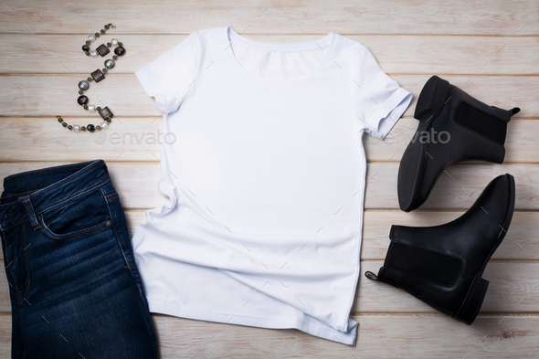 Womens T-shirt mockup with chelsea boots - Stock Photo - Images