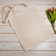 Tote bag mockup with pink tulips bouquet - PhotoDune Item for Sale