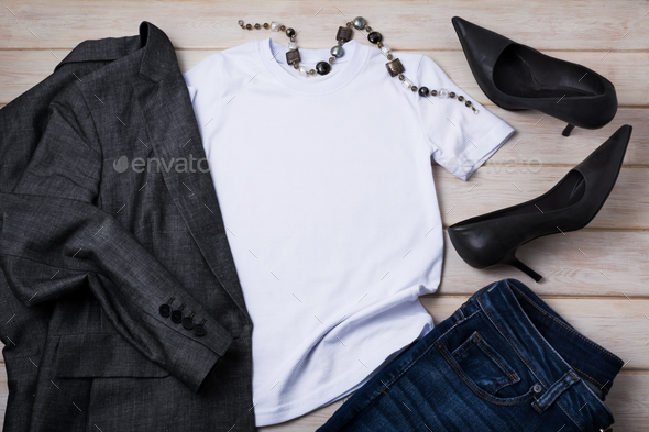 Women T-shirt mockup with high heels, murano necklace and blazer - Stock Photo - Images