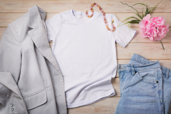 Women T-shirt mockup with jeans, striped blazer, necklace - Stock Photo - Images