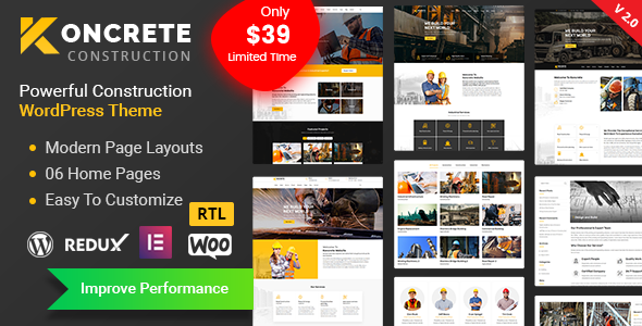 Wondrous Koncrete - Construction Building WordPress Theme