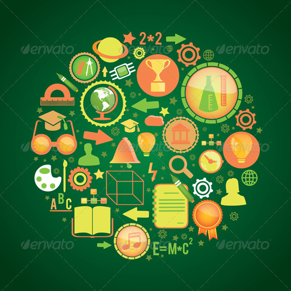 Round concept with education icons - Abstract Conceptual